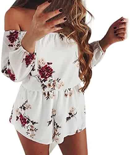 329070a2d2f6 Makaor Women Off Shoulder Belt Sexy Rompers Floral Long Sleeve Shorts Jumpsuit  Playsuit (White