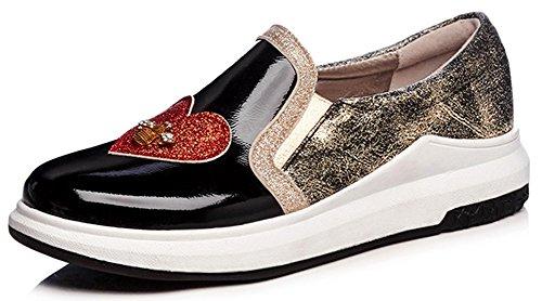 Idifu Donna Casual Punta Rotonda Glitter Tacco Medio Zeppa Pull Su Sneakers Moda Nere