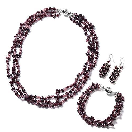 (Silvertone and Stainless Steel Garnet Glass Bracelet 8