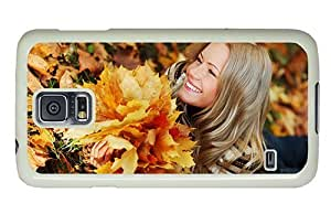 Hipster sale Samsung Galaxy S5 Case girl autumn leaves PC White for Samsung S5