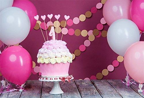 l 1st Birthday Photo Backdrop Pink Babyroom Balloons Wooden Plank Floor Decoration Wallpaper Little Princess Cake Smash Photo Background Vinyl Photo Studio Props ()