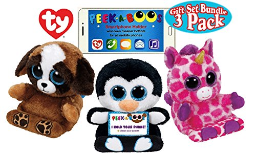 TY Peek-A-Boos Phone Holders with Screen Cleaner Bottom Pups