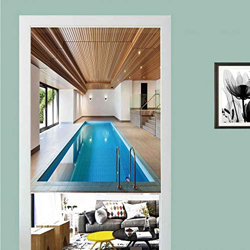 SCOCICI 3D Printed Magic Stickers Door Curtain,House Decor,Apartment with Indoor Pool Wooden Ceiling Private Resident Stylish Home Perspective,Privacy Protect for Kitchen,Bathroom,Bedroom(1 Panel)