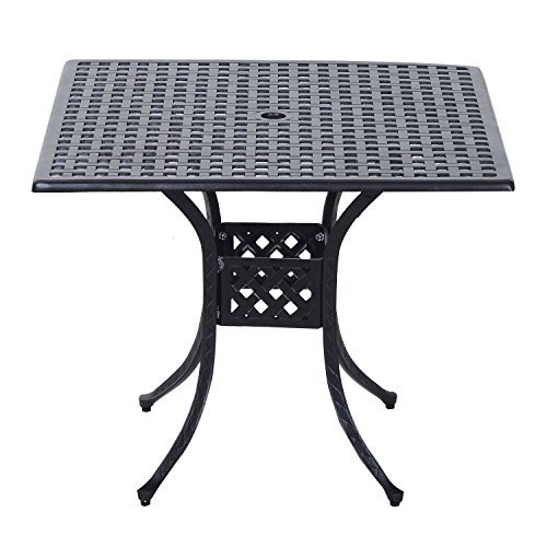 """Outsunny 36"""" x 36"""" Square Metal Outdoor Patio Bistro Table with Umbrella Hole"""