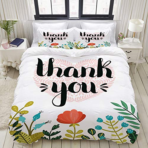 TARTINY Duvet Cover Set, Heart Created with Pretty Leafy Branch Flowers and Botanical Plants Illustration, Custom 3 Piece Bedding Set with 2 Pillow Shams, King Size
