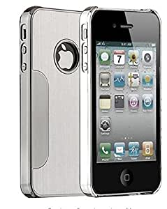 ULAK iPhone 4S Móvil, iPhone 4s/4 Carcasa rígida plata Lujo Cromo Hybrid Carcasa Case Cover Para Apple iPhone 4/4S (Plata)
