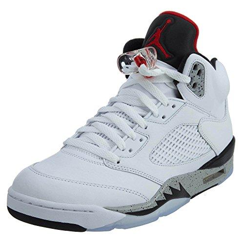 Nike Zapatos Altos de Hombre Jordan V Blanco Cemento BG EN Cuero Blanco 136027-104