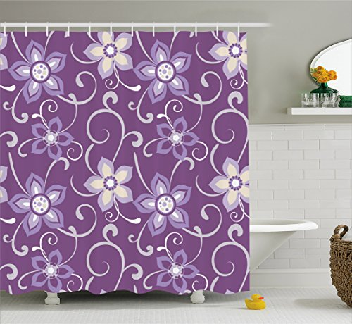 Eggplant Shower Curtain by Ambesonne, Beautiful Lilacs with Leaves Sticking out of Them in Soothing Purple Background, Fabric Bathroom Decor Set with Hooks, 70 Inches, Purple White