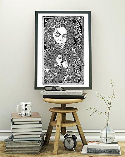 (Michael Jackson - Inspired Letterpress Art Print Poster -Detailed Pen and Ink Original Hand Drawing 11