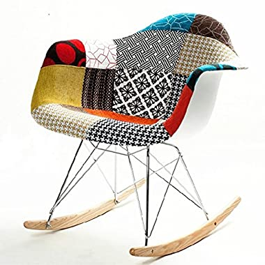 Patterned Rocker Arm Chair in Multi Colored
