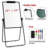 DOEWORKS 24'' x 36'' Magnetic U-Stand Whiteboard/Flipchart Easel, Double Sided Dry Erase Boards, Height Adjustable and Foldable U Stand Easel