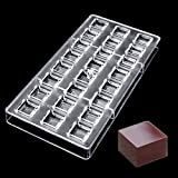 Jeteven Cube Clear Polycarbonate Chocolate Mold Jelly Candy Making Mold 24-Piece Tray