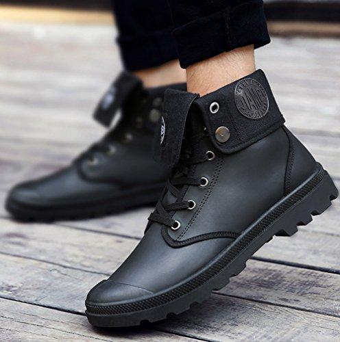Anti Botines Botas Lazada de Botas Negro Nieve Invierno Otoño Hombre Invierno Zapatos Minetom Retro B Martin Moda deslizante Boots 6w7q8vB1xa
