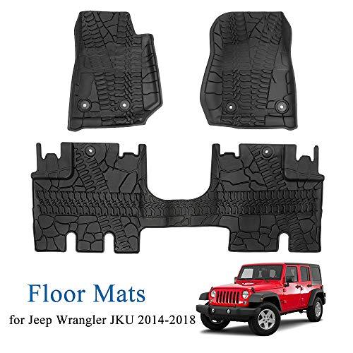 JoyTutus Fits Jeep Wrangler JKU Floor Mats 4 Door Slush Mat Unlimited 2014 2015 2016 2017 2018