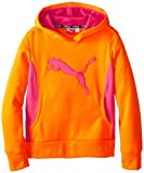 PUMA Big Girls' Cat Hoodie with Thumb Hole, Orange, 7 (Small)
