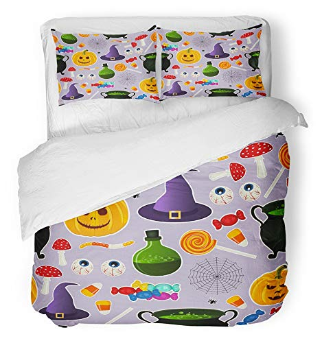 Emvency 3 Piece Duvet Cover Set Breathable Brushed Microfiber Fabric Related Halloween Holiday Object Silhouettes on Purple Traditional Witches Bedding Set with 2 Pillow Covers King -