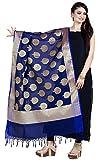 Chandrakala Women's Handwoven Cutwork Brocade Banarasi Dupatta Stole Scarf (Blue)