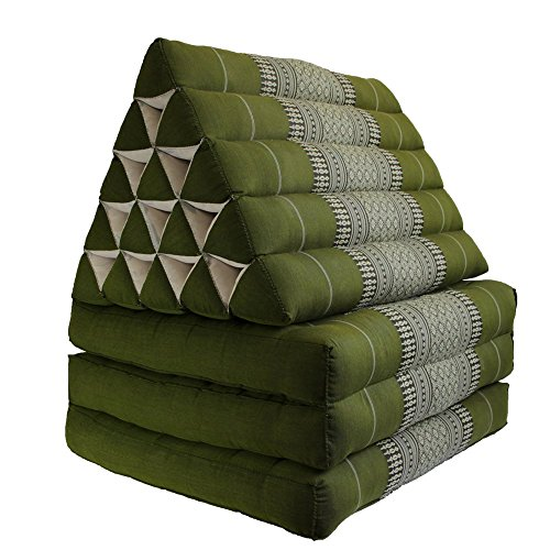 Foldout Triangle Thai Cushion Three Fold Jumbo Size, Green by BRAIN GAMES