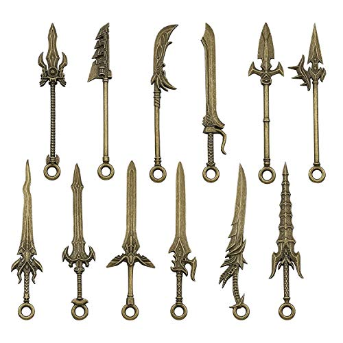 Youdiyla 12pcs God of War Weapon Charms Collection, Mix Spear Lance Sword Cold Arms Weapons Double-Edged Sword Knife Fencing Metal Toy Charms Pendant Supplies Findings for Jewelry Making (HM189)