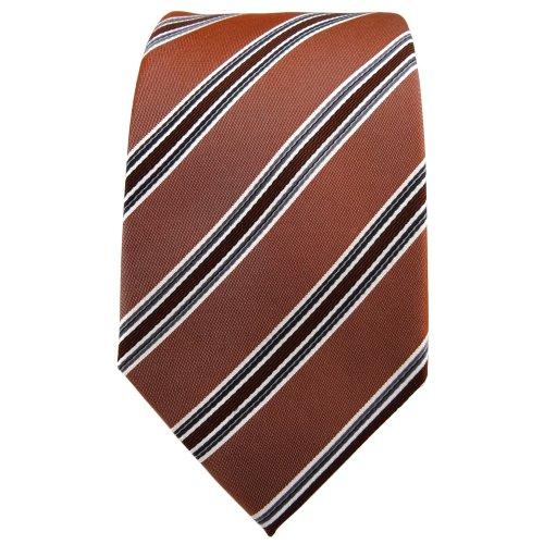 TigerTie cravate en soie brun cuivré anthracite argent rayé - cravate en soie