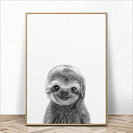 : 13x18 cm No Frame, Color: FBH046 Size Inch Ochoos Cute Baby Animal Sloth Wall Art Canvas Prints Sloth Art Canvas Painting Poster for Kids Room Nursery Wall Art Decor -