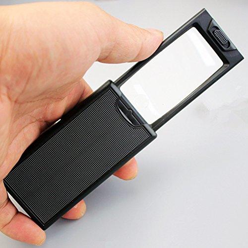 Tire de una lupa portátil 2.5X / 45X lente doble identificación de lectura de la lupa inspección de billetes de banco de...