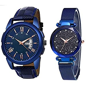 Fashion House Round Blue Dial Men's & Women's Designer Blue Diamond with Magnet Belt Couple Watch Combo Latest Watches for Mens, Girls, Women's Couple Watches for Lovers