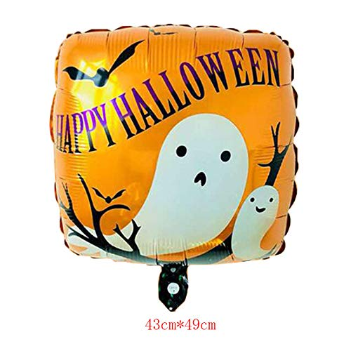 Lannmart Halloween Square Foil Balloons Happy Halloween Decorations Cat Ghost Globos bat Baloon Inflatable Classic Toys Party Supplies