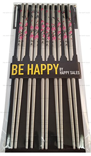 Happy Sales HSCS-SCB20, 5 Pairs Cherry Blossom Stainless Steel Chopsticks