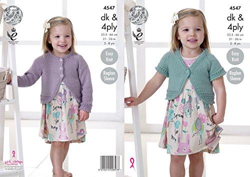 Long Cardigan Knitting Pattern - King Cole Girls Double Knit or 4 Ply Knitting Pattern Easy Knit Raglan Sleeve Boleros (4547)