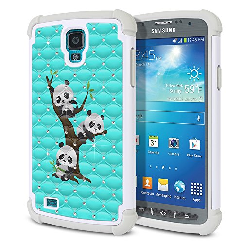 Samsung Galaxy S4 Active I537 I9295 Case, Fincibo (TM) Dual Layer Shock Proof Hybrid Hard Protector Cover Silicone Star Studded Rhinestone Bling, Cute Pandas On The Tree On Teal Green (Active S4 Galaxy Samsung Cases)