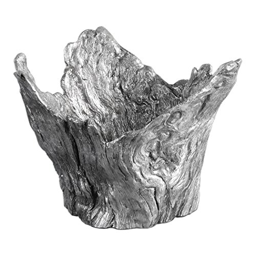 Abstract Silver Tree Root Centerpiece Bowl | Faux Bois Sculpture Modern Contemporary