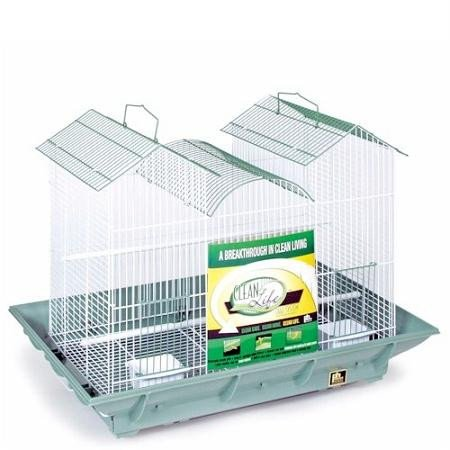 Clean Life Triple Roof Bird Cage - Green and White by Prevue Hendryx