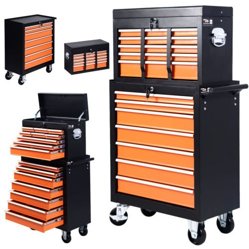 Portable 16 Drawers Tool Cart Top Chest Box Rolling Toolbox Cabinets Storage