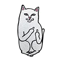 GogoForward Funny Cat Patch Middle Finger Patch Embroidered Patch Patch Iron on Patch Sew