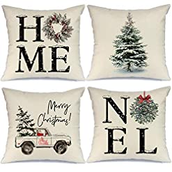 Christmas Farmhouse Home Decor AENEY Christmas Decorations Pillow Covers 18×18 Set of 4, Home Noel Truck Christmas Tree Rustic Winter Holiday Throw… farmhouse christmas pillow covers