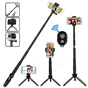 Selife Stick Bluetooth, Extendable Selfie Stick Monopod with Integrated Tripod and Bluetooth Remote Shutter Wireless Selfie Stick Tripod for iPhone X,6,7,8 Plus GoPro Samsung S6,S7,S8,Cameras Android