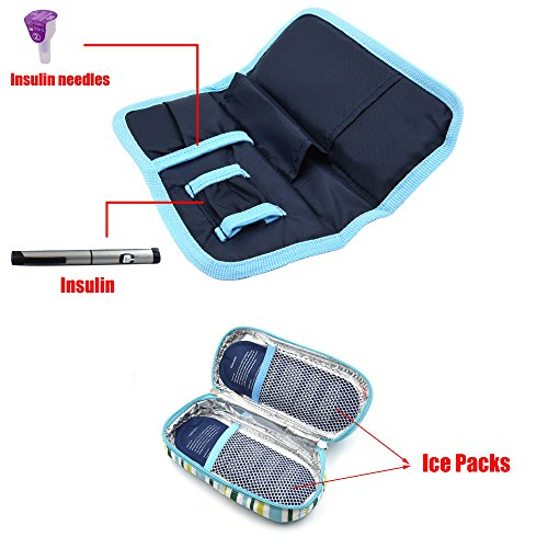 Goldwheat Portable Insulin Cooler Bag Diabetic Organizer Medical Travel Cooler Pack + 2 Ice Packs