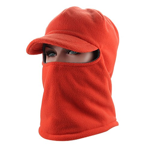 (Leories Winter Windproof Cap Fleece Balaclava Hooded Face Mask Neck Warmer Ski Hood Snowboard Mask Wind Protector Ski Hat Orange)