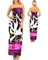 Body Skimming Strapless Smocked Pink Black White Abstract Maxi Dress