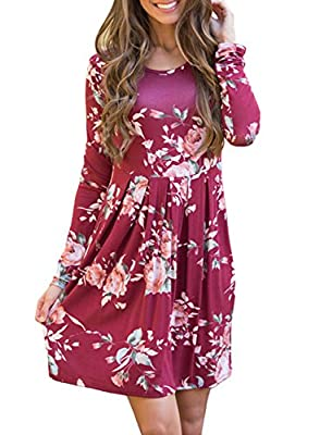 ZESICA Women's Long Sleeve Floral Print Pleated Casual Swing Tunic T-shirt Dresses