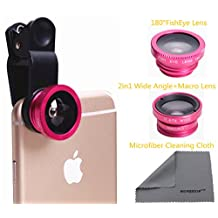 WONBSDOM 3 in 1 Universal Clips on Lenses Kit(Rose Pink) FishEye Lens+Macro+Wide Angle Lens +Microfiber Cleaning Cloth for iPhone 4S 5 5S 5C 6 itouch Samsung Galaxy S4/S5/Note 2/3/4 Blackberry HTC Sony Nokia LG Motorola,etc.