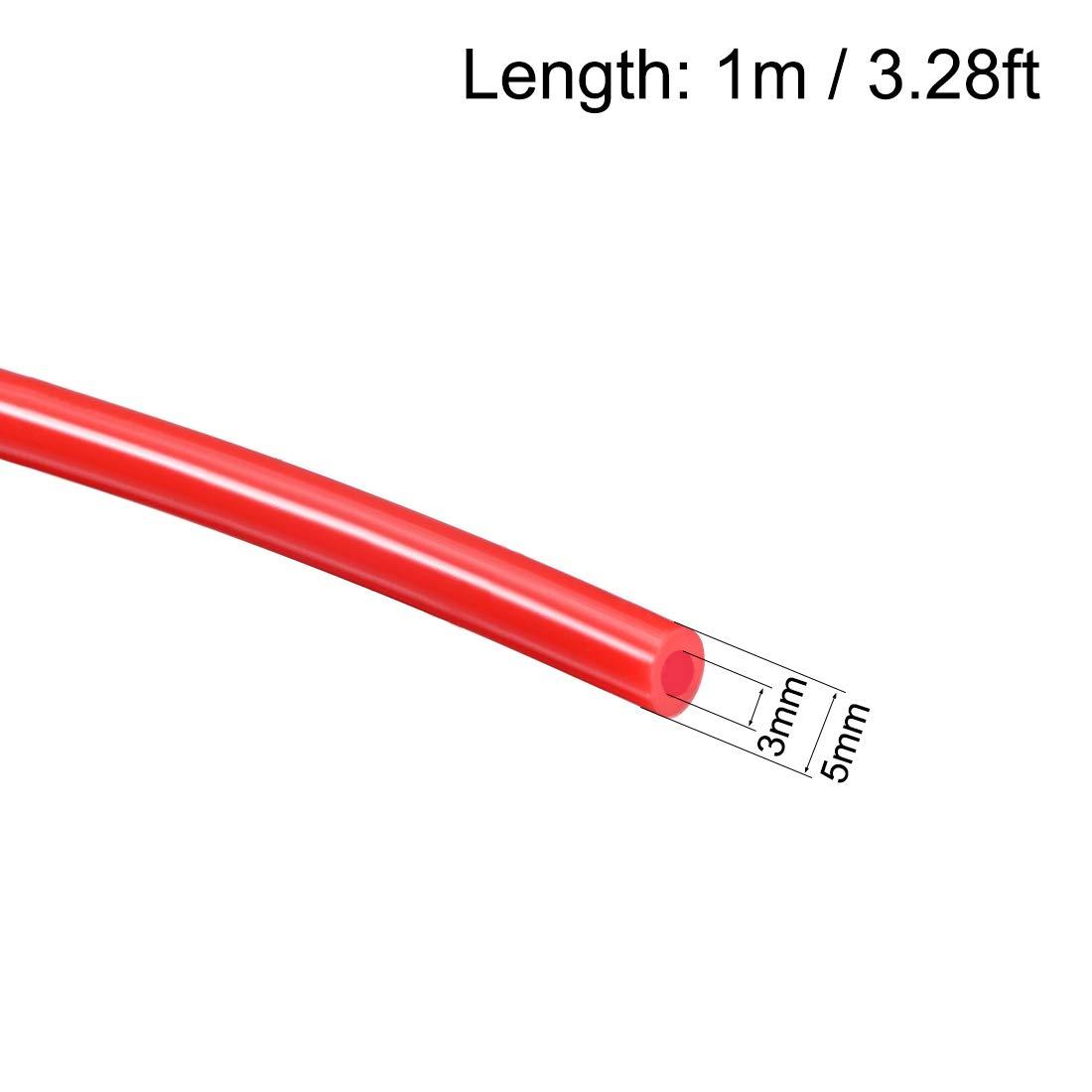 sourcing map Tubo de silicona 3 mm ID X 5 mm OD 3.28 pies 1 m Tubo flexible de caucho de silicona Tubo de manguera de aire para transferencia de bomba Rojo