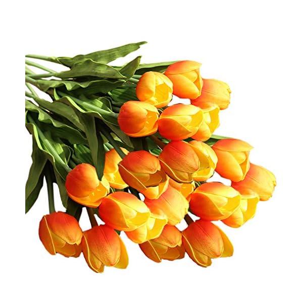 "cn-Knight Artificial Flower 12pcs 20"" Long Stem Tulip Faux PU Flower Big Size Fake Tulipa for Wedding Bridal Bouquet Bridesmaid Home Décor Office Baby Shower Centerpiece Reception(Orange)"