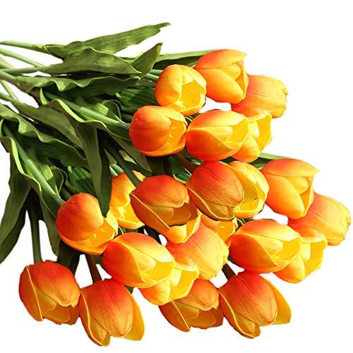 cn-Knight Artificial Flower 12pcs 20'' Long Stem Tulip Faux PU Flower Big Size Fake Tulipa for Wedding Bridal Bouquet Bridesmaid Home Décor Office Baby Shower Centerpiece -