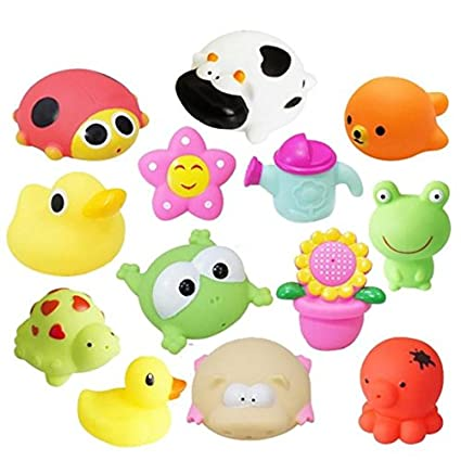 Cartoon Animal Baby Bath Toy Rubber Float Squeeze Sound Cute Wash Swimming