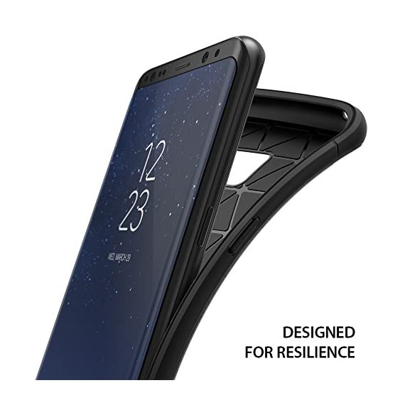 Ringke Onyx Compatible with Galaxy S8 Plus Case PartialUpdated Version Brushed Metal Design Flexible & Slim Dynamic Stroked Pattern Trim Fingerprint Resistant Cover for Galaxy S 8 Plus - Black 3 Heavy duty defense and brushed metal texture layout with a mechanical design complete with Military Grade MIL-STD 810G - 516.6 drop protection. Supports Qi Wireless Charging without the hassle of having to remove the case for Galaxy S8 Plus. Precision-cut TPU profile improves the slim and streamlined appearance with a tough outer flexible protective layer closely contouring each edge and curve of your device. The precise slim fit stays perfect and true to preserve all the premium profile. Highly durable specialized thermoplastic urethane material case is perfectly compatible and secures your device in a comfortable flexible fit for optimized protection against scratches or scrapes. Ultra sturdy yet lightweight, there's no chance in weighing down or bulking up your slim device.