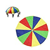 Rainbow Play Parachute 12 ft for Kids 12 Handles with Storage Bag Child Wind Tent Group Games Toy Picnic Mat Blanket For Indoor Outdoor Teamwork Exercise By Suyi