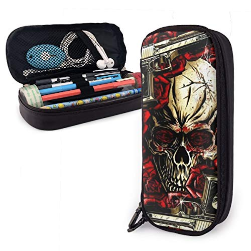 Big Capacity Pencil Pen Case Office College School Stationery Storage Bag Pouch Holder Box Organizer for Boys Girls Kids Men Women Gothic Sugar Skull with -