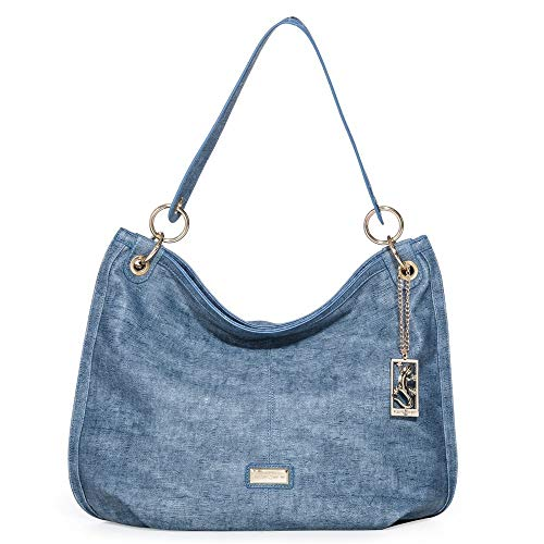 Bolsa Fellipe Krein Grande Estampada Azul Jeans Azul Jeans